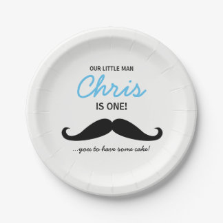 Our Little Man is one! Mustache you to have cake 7 Inch Paper Plate