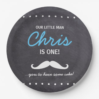 Our Little Man is one! Mustache you to have cake 9 Inch Paper Plate