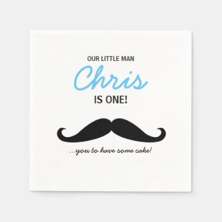 Our Little Man is one! Mustache you to have cake Disposable Napkin