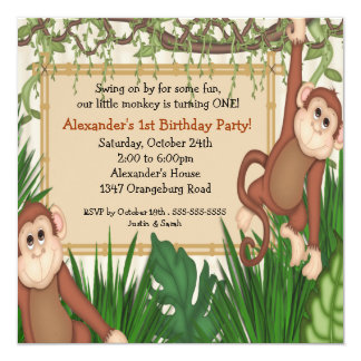 Our little Monkey 1st Birthday 13 Cm X 13 Cm Square Invitation Card