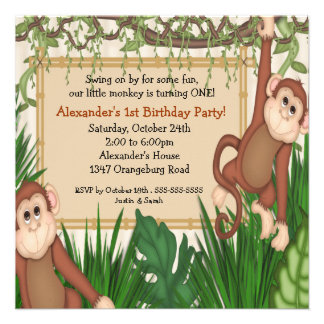 Our little Monkey 1st Birthday Personalised Invitations