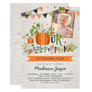 Our Little Pumpkin Kids Birthday Party Photo Card