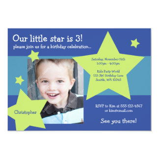 Our Little Star Blue and Green Boy Birthday Photo Card