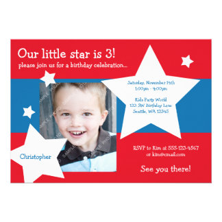 Our Little Star Red, White, and Blue Boy Birthday Personalized Invite