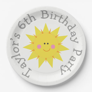 Our little Sunshine Birthday 9 Inch Paper Plate