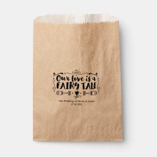 OUR LOVE IS A FAIRY TALE Custom Wedding Favor Favour Bag