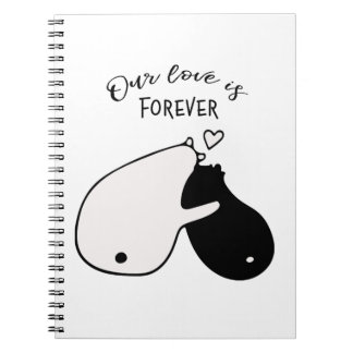 Our love is forever black and white bear graphics notebook
