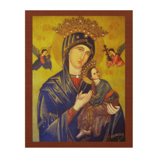 OUR MOTHER OF PERPETUAL HELP SACRED IMAGE WOOD CANVAS