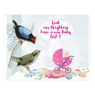 Our Neighbors have-a-new baby Girl Postcard
