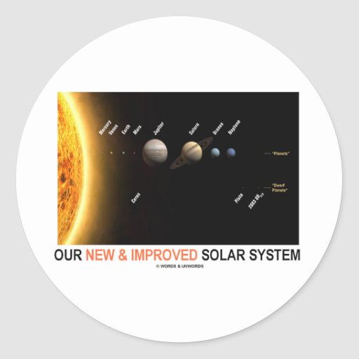 Our New And Improved Solar System (Galactic Round Sticker ...