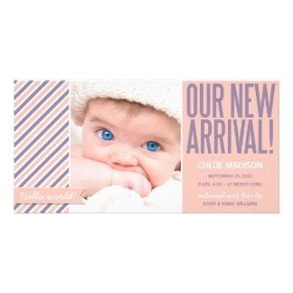 OUR NEW ARRIVAL IN CORAL| BIRTH ANNOUNCEMENT PHOTO CARD TEMPLATE