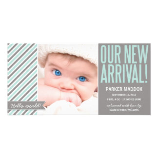 OUR NEW ARRIVAL IN GRAY | BIRTH ANNOUNCEMENT CARD