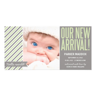 OUR NEW ARRIVAL IN GREEN | BIRTH ANNOUNCEMENT PHOTO CARD TEMPLATE