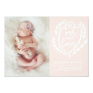 OUR NEW LOVE Birth Announcement // pink and white