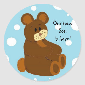 Our new Son is here Round Stickers