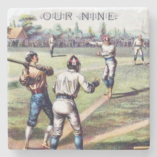 Our Nine, Baseball, Cigar Box Label, Coaster