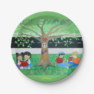 """Our Peace Tree"" Paper Plates 7 Inch Paper Plate"