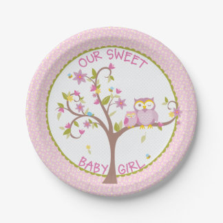 Our Sweet Baby Girl Owl Baby Shower Plate 7 Inch Paper Plate