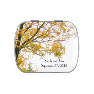 Our Tree Fall Wedding Custom Favor Tins Jelly Belly Tins