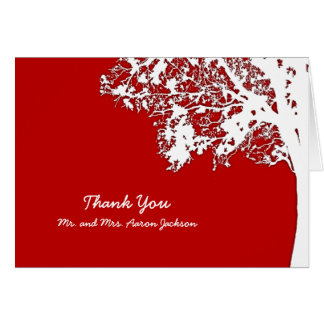Our Tree Rustic Red Wedding Thank You Cards