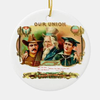 Our Union Vintage Cigar Box Label Ceramic Ornament