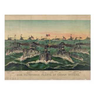 Our Victorious Fleets in Cuban Waters Ives Postcard