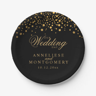 Our Wedding Day Black & Gold Confetti Dots Paper Plate