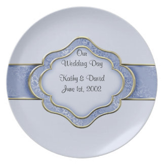 Our Wedding Day (Blue) Party Plates