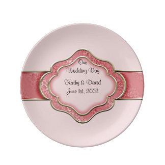 Our Wedding Day (Coral) Porcelain Plates