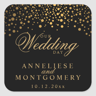 Our Wedding Day Gold Dots on Black | Personalize Square Sticker
