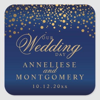 Our Wedding Day Gold Dots on Navy Blue Square Sticker