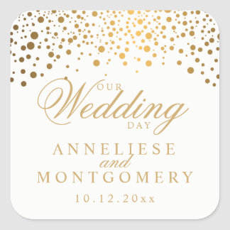 Our Wedding Day Gold Dots on White| Personalize Square Sticker