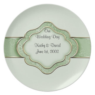 Our Wedding Day (Green) Dinner Plates