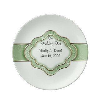 Our Wedding Day (Green) Porcelain Plate