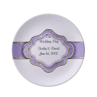 Our Wedding Day (Lilac) Porcelain Plates