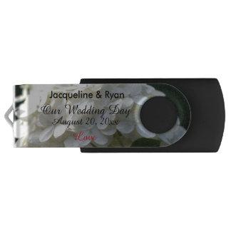 Our Wedding Day Love White Lime Hydrangea USB Swivel USB 3.0 Flash Drive