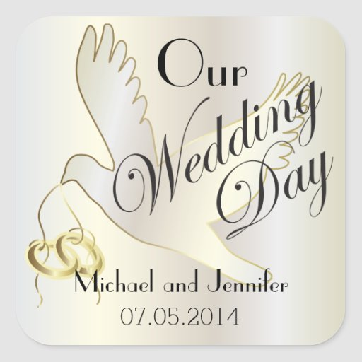 Our Wedding Day Personalized Square Stickers