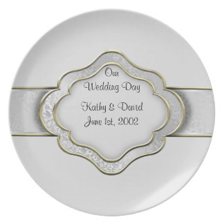 Our Wedding Day (Silver) Party Plate