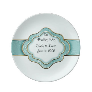 Our Wedding Day (Teal) Porcelain Plate