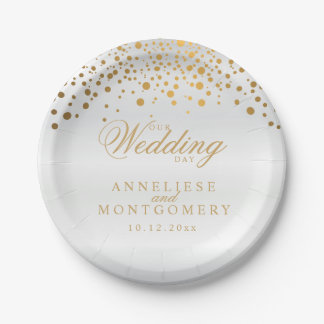 Our Wedding Day White & Gold Confetti Dots Paper Plate