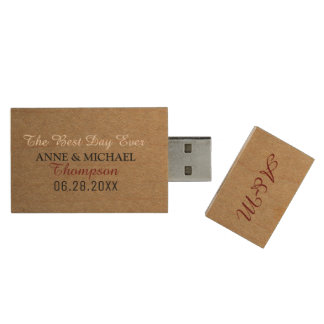 our wedding event picture memories wood USB flash drive