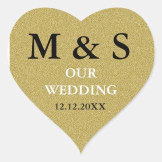 Our Wedding Heart Stickers Glitter Gold Monogram