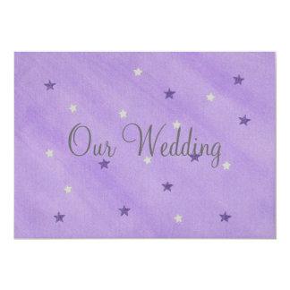 Our Wedding Invitations, Purple and Silver Stars 13 Cm X 18 Cm Invitation Card