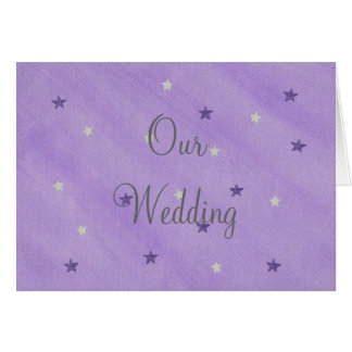 Our Wedding Invitations, Purple and Silver Stars Greeting Card