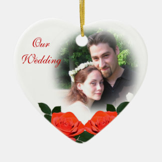 Our wedding Photo Ornament red roses&sketch