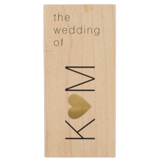 our wedding photos, couple initials wood USB flash drive