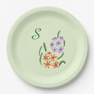 Our Wedding Purple Orange Hyacinth Flowers Plates 9 Inch Paper Plate