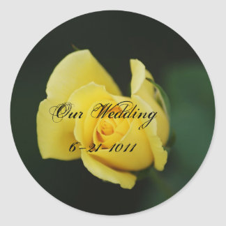Our Wedding, save the date, single yellow rose Round Sticker
