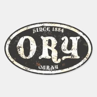 Ouray Black Grunge Rust Oval Sticker