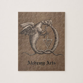 Ouroboros Dragons Leather Personalised Jigsaw Puzzle